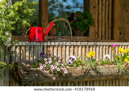 Red watering can on a wooden terrace with a lot of blooming flowers on a shiny sunny day - stock photo