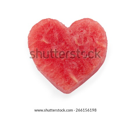 Red watermelon sweet good test isolated on white background with clipping path.  - stock photo