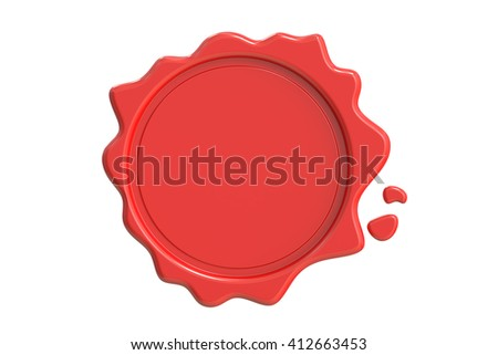 Red Wax Seal, 3D rendering isolated on white background