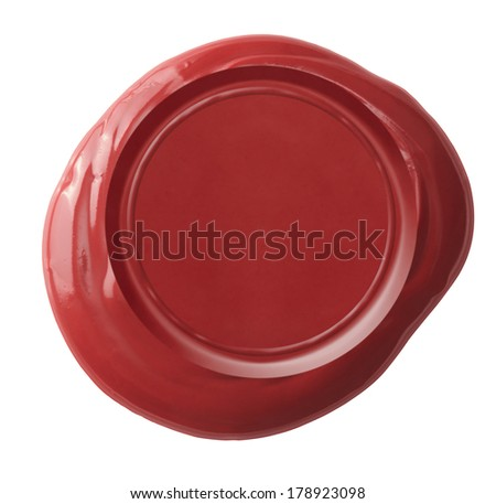 Red wax seal isolated on white with clipping path included - stock photo