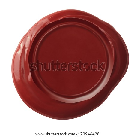 Red wax seal isolated with clipping path included - stock photo