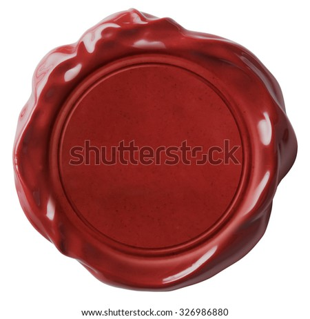 Red wax seal or signet isolated  - stock photo