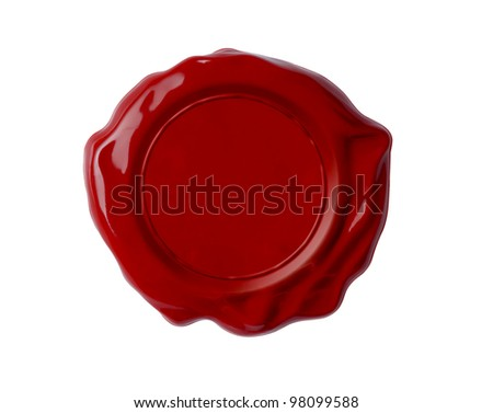 Red wax seal or signet isolated on white - stock photo
