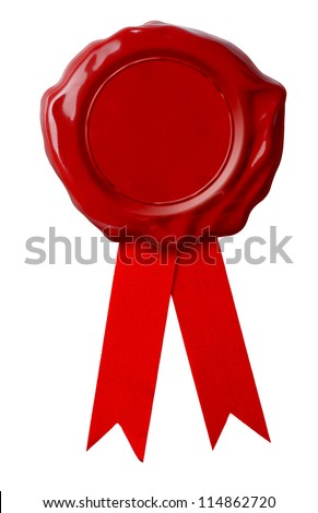 Red wax seal or signet with ribbon isolated on white - stock photo