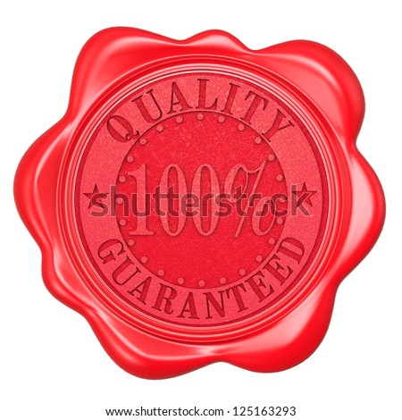 "red wax seal with ""100% quality guaranteed"" description"