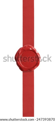 Red wax seal with ribbon certificate isolated on white - stock photo
