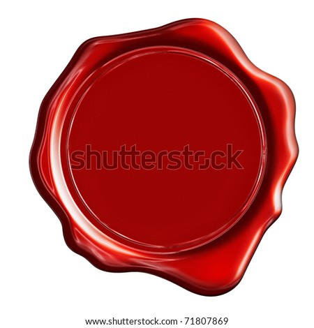 Red wax stamp on a white background - stock photo