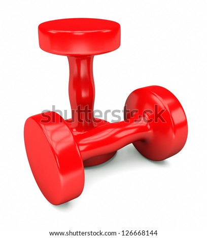 red weights - stock photo
