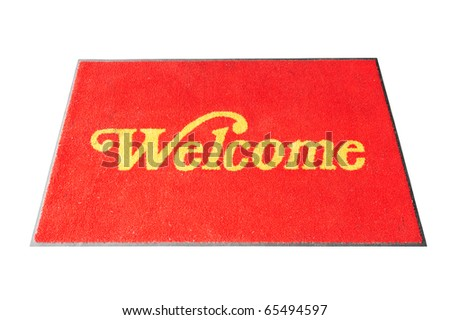 Red Welcome Carpet Isolated  On White Background - stock photo