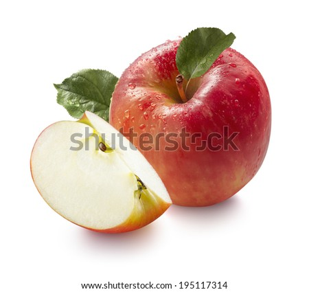 Red wet honeycrisp apple and quarter isolated on white background for package design - stock photo