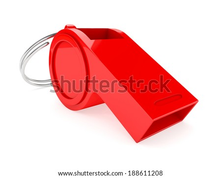 red whistle isolated on white background. - stock photo