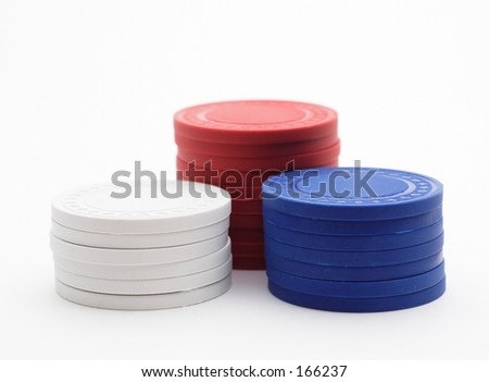 Red white and blue gaming chips