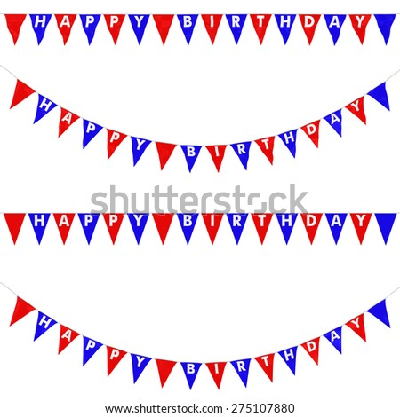 Red, White and Blue HAPPY BIRTHDAY Bunting Collection: 3D reflection and flat orthographic textures - stock photo