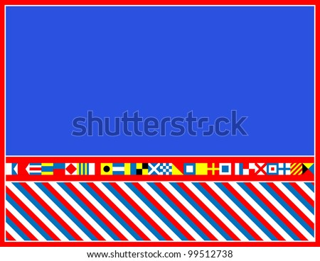 red, white and blue nautical flags border or frame. - stock photo