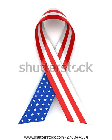 Red, white, and blue ribbon for 4th of July or Memorial Day - stock photo
