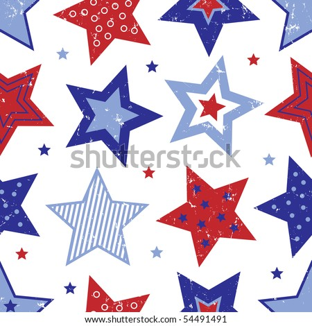 Red White and Blue Stars Pattern