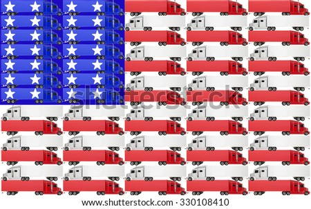 Red, white and blue trucks with tractor trailer big rig 18 wheelers on an American flag for the USA United States of America - stock photo