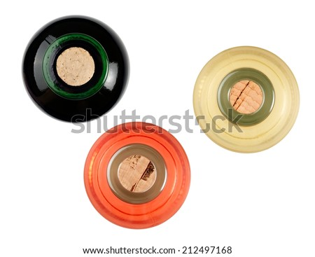 Red, white and rose wine bottles, top view - stock photo