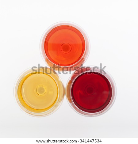 Red, white and rose wine glasses. top view. - stock photo