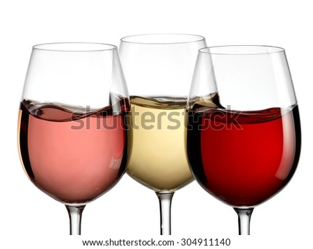 Red, white and rose wine plash, close up - stock photo