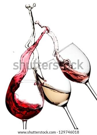 Red, white and rose wine splash - stock photo