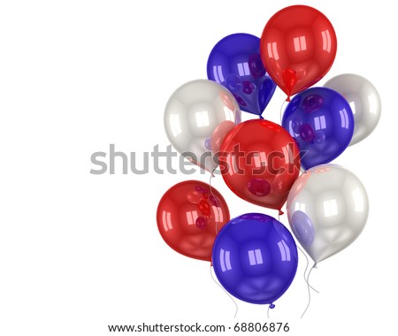 red, white, blue balls on a white background - stock photo