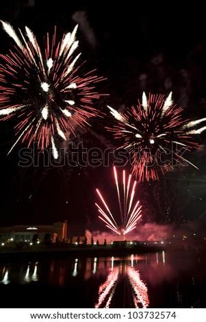 Red, White & Boom fireworks display in Columbus, Ohio - stock photo