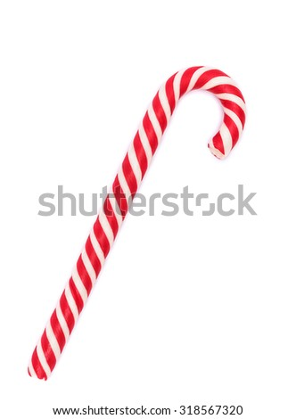 Red-white candy cane isolated on white with shadow - stock photo