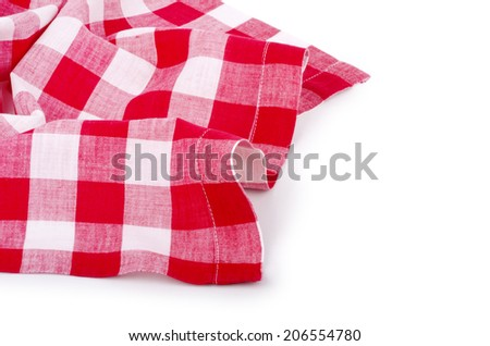 red-white checkered tablecloth  isolated on white background