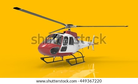 Red-white civilian helicopter on a yellow uniform background. 3d illustration.