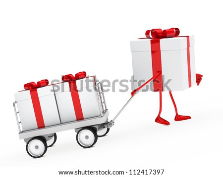 red white gift box draws a trolley