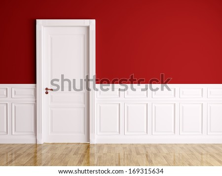 Red white interior with white classic door - stock photo
