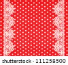 red white polka dot background with lace border - stock
