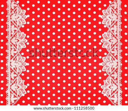 red white polka dot background with lace border - stock photo