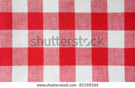 red white tablecloth - stock photo
