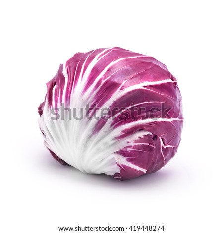 red whole cabbage isolated white - stock photo