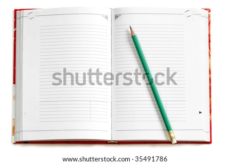 Red wide opened empty notebook with a pencil on it