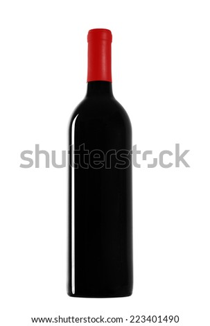 red wine and a bottle isolated over white background - stock photo