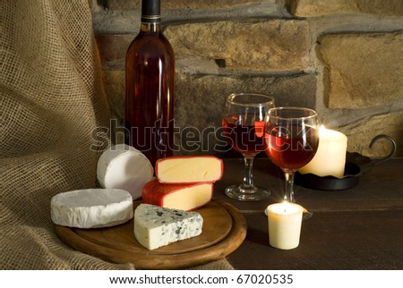 Red wine and cheese composition - stock photo