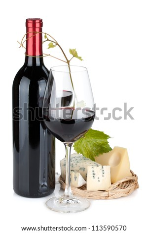 Red wine and cheese. Isolated on white background - stock photo