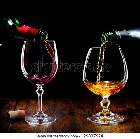Red wine and cognac - stock photo