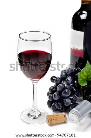 Red wine and grape, isolated, white background
