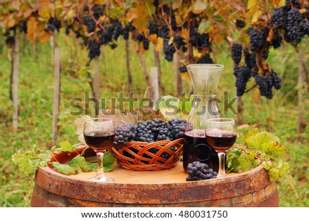Red wine and grape on wooden barrel in vineyard autumn