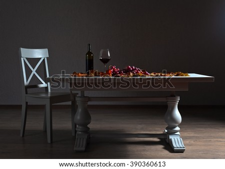 red wine and grapes on the old table