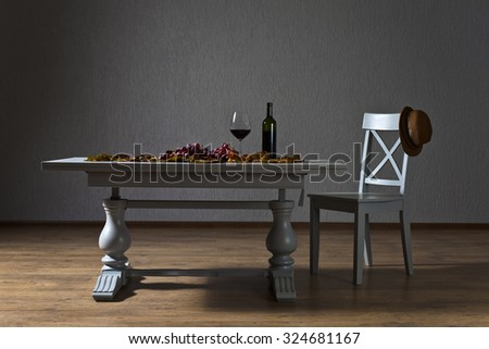 red wine and grapes on the table in an empty room
