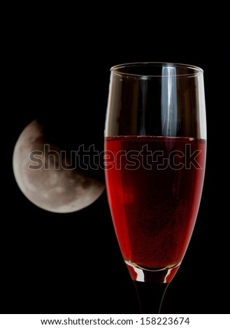 red wine and moon - stock photo