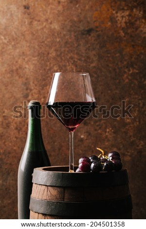 Red wine and old barrel