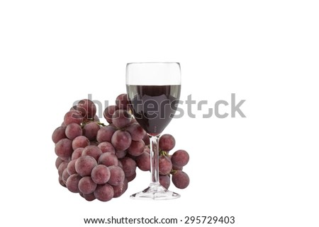 Red Wine and red grapes on White Background.