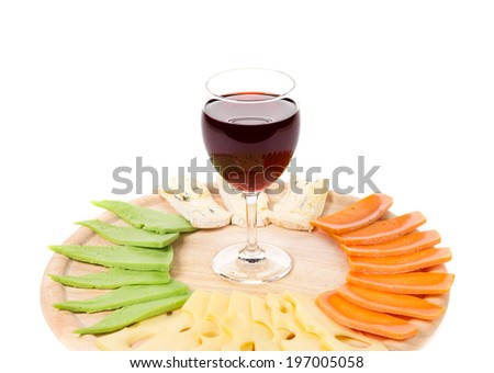 Red wine and Various types of cheese on a plate isolated on white