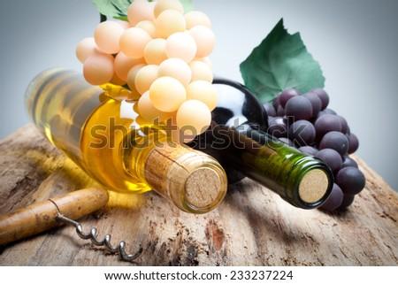 Red wine and white wine - stock photo